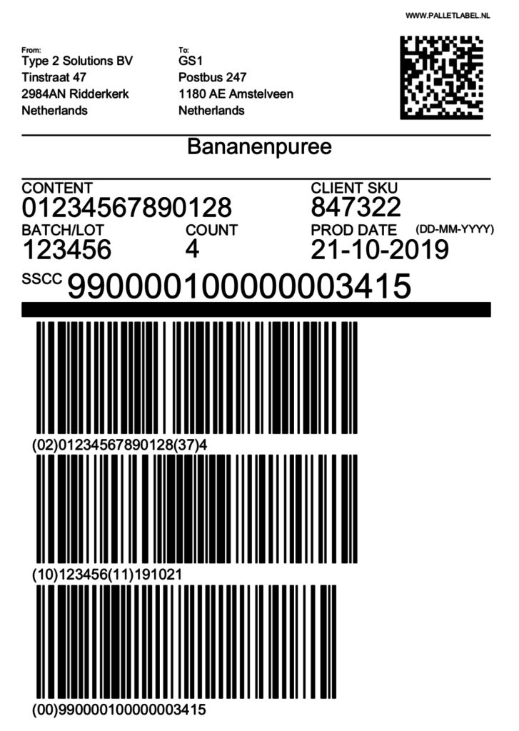 SSCC label datamatrix